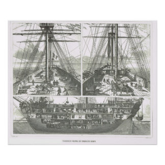 Various views of French ships Poster
