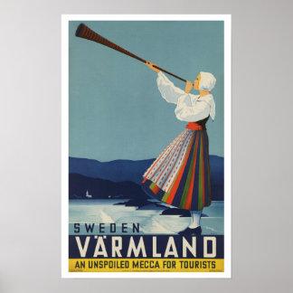 Varmland Suecia - viaje del vintage Póster