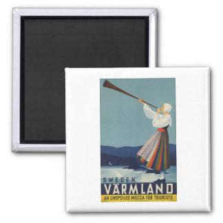 Varmland Sweden - Vintage Travel 2 Inch Square Magnet