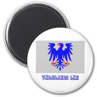 Värmlands län flag with name refrigerator magnet