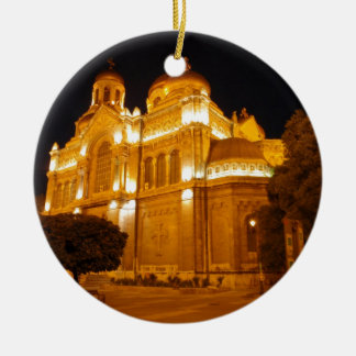 Varna Cathedral At Night Ceramic Ornament