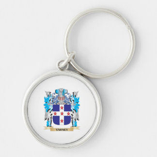 Varney Coat of Arms - Family Crest Silver-Colored Round Keychain