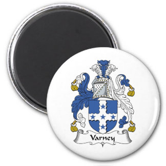 Varney Family Crest 2 Inch Round Magnet