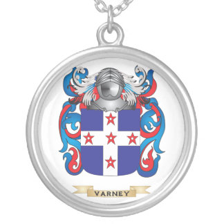 Varney Family Crest (Coat of Arms) Round Pendant Necklace