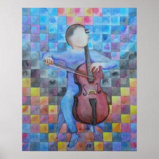 Varón abstracto del violoncelo póster