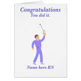 Varón de la enfermera registradoa de la graduación tarjeta de felicitación