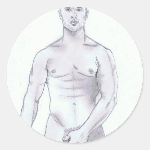 Varón gay desnudo atractivo pegatinas redondas