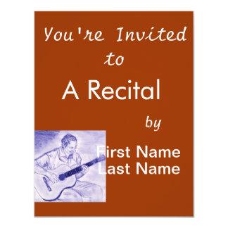 """Varón que toca la guitarra acústica mientras que invitación 4.25"""" x 5.5"""""""