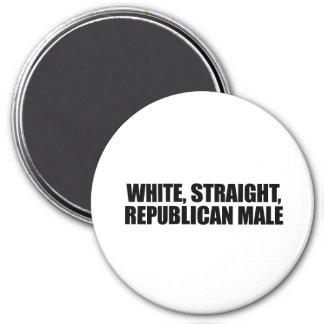 Varón republicano recto blanco imán redondo 7 cm