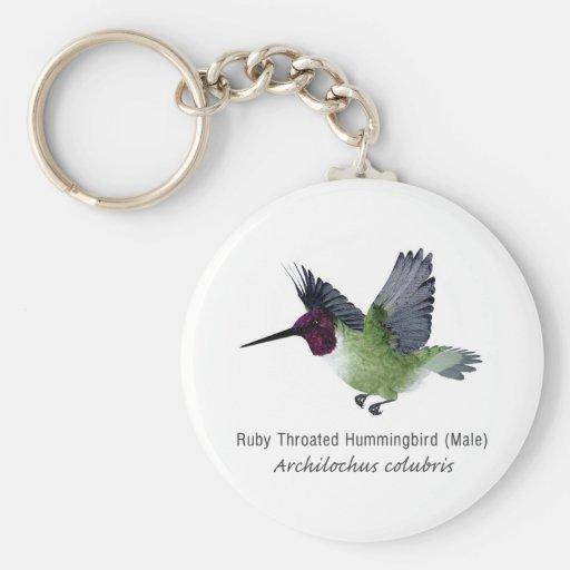Varón Throated de rubíes del colibrí con nombre Llavero Redondo Tipo Pin