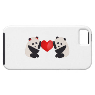 Varón y hembra de la panda con el corazón iPhone 5 protector