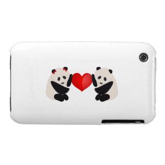 Varón y hembra de la panda con el corazón Case-Mate iPhone 3 cárcasa