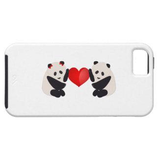 Varón y hembra de la panda con el corazón funda para iPhone SE/5/5s