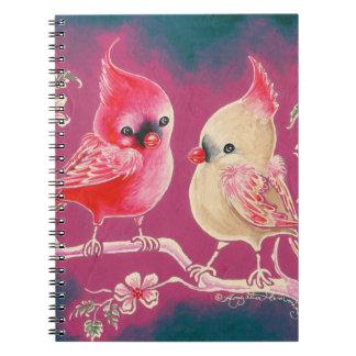 Varón y pájaro cardinal femenino notebook