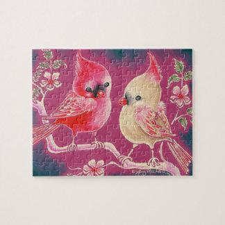 Varón y pájaro cardinal femenino rompecabezas