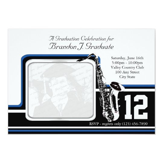 Varsity Band Graduation Photo Blue Card