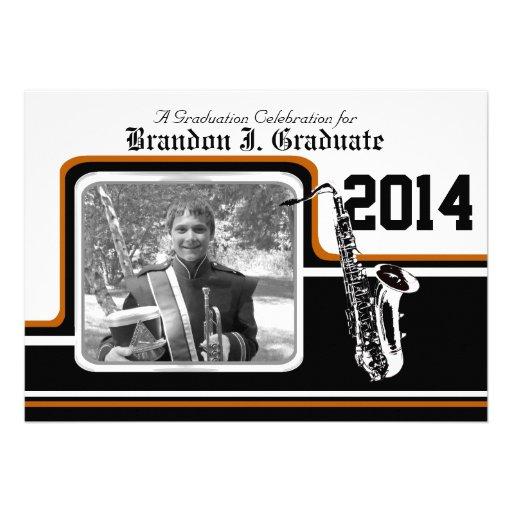 Varsity Band Saxophone Graduation Photo Orange Custom Announcement