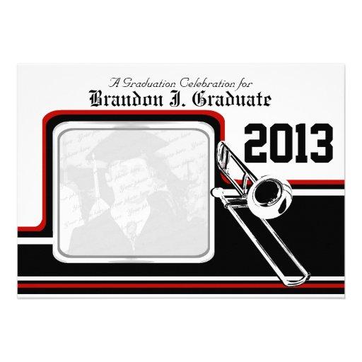 Varsity Band Trombone Graduation Photo Red Custom Invite