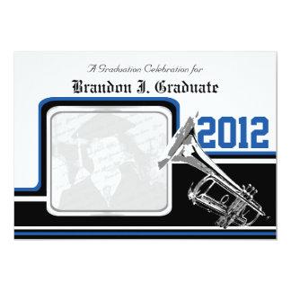 Varsity Band Trumpet Graduation Photo Blue Card