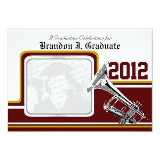 Varsity Band Trumpet Graduation Photo Gold Red Card