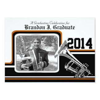 Varsity Band Trumpet Graduation Photo Orange Card