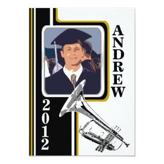 Varsity Band Trumpet Photo Graduation Gold Stripe Card