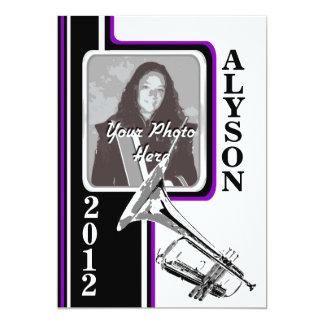 Varsity Band Trumpet Photo Graduation Purpl Stripe Card