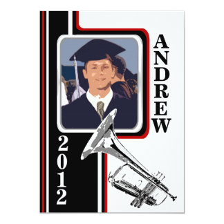 Varsity Band Trumpet Photo Graduation Red Stripe Card