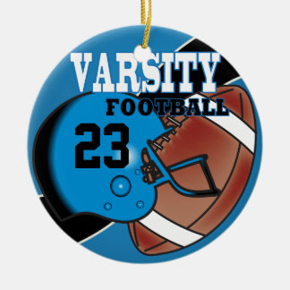 Varsity Blue and Black Football Ceramic Ornament