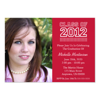 Varsity Class Of 2012 Graduation (Burgandy Red) 5x7 Paper Invitation Card