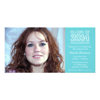 Varsity Class Of 2014 Graduation (Baby Blue) Personalized Photo Card