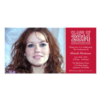 Varsity Class Of 2014 Graduation (Burgandy Red) Photo Card Template
