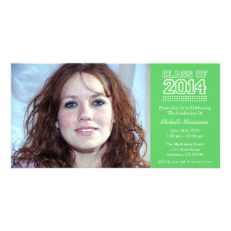 Varsity Class Of 2014 Graduation (Lime Green) Picture Card