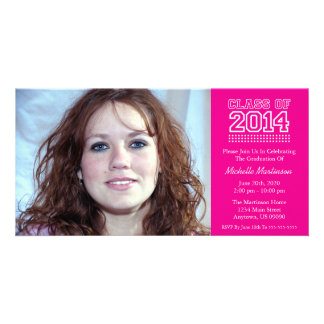 Varsity Class Of 2014 Graduation (Magenta Pink) Photo Greeting Card