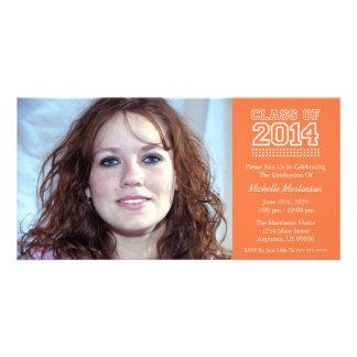 Varsity Class Of 2014 Graduation (Orange) Personalized Photo Card