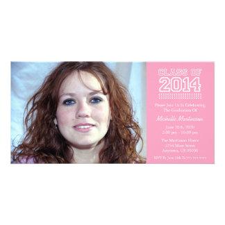 Varsity Class Of 2014 Graduation (Pink) Customized Photo Card