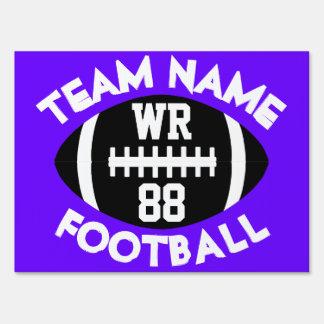 Varsity HS Football Team Player Custom Color Text Lawn Sign