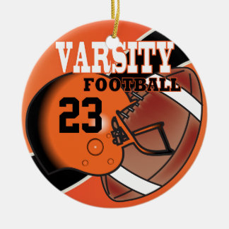 Varsity Orange and Black Football Ceramic Ornament