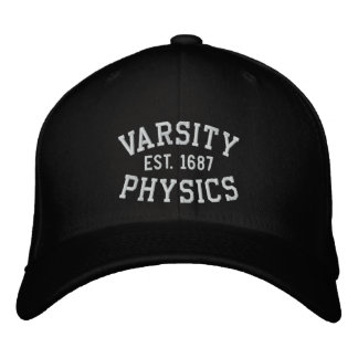 VARSITY, PHYSICS, EST. 1687 black and white Embroidered Hats