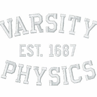 VARSITY, PHYSICS, EST. 1687 black and white Polo Shirt
