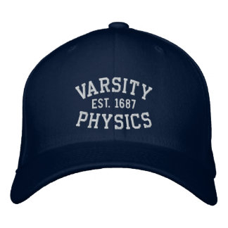VARSITY, PHYSICS, EST. 1687 blue and white Embroidered Baseball Cap