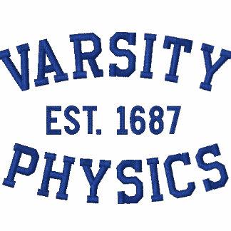 VARSITY, PHYSICS, EST. 1687 blue and white Polo Shirt
