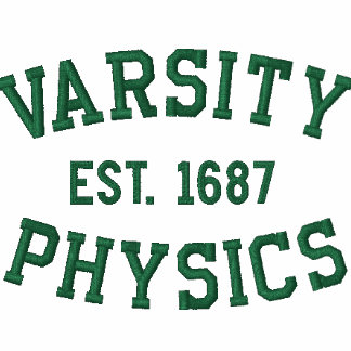VARSITY, PHYSICS, EST. 1687 green and white Embroidered Polo Shirts