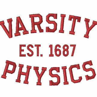 VARSITY, PHYSICS, EST. 1687 red and white Polo Shirt