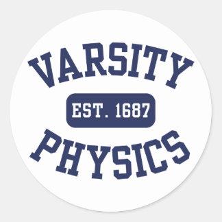 Varsity Physics Round Sticker