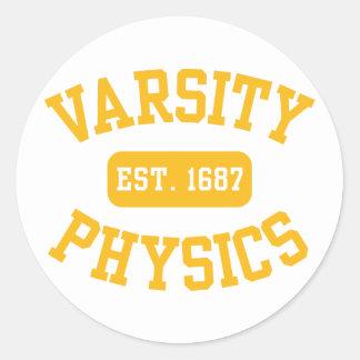 Varsity Physics Round Stickers