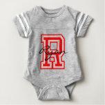 Varsity Sport | Monogram Letter R | Red | DIY Name Baby Bodysuit
