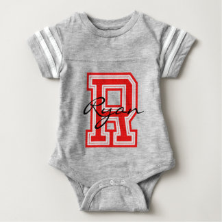 Varsity Sport | Monogram Letter R | Red | DIY Name Baby Bodysuit