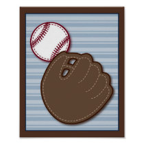 Varsity Sports Baseball Nursery Wall Art Print