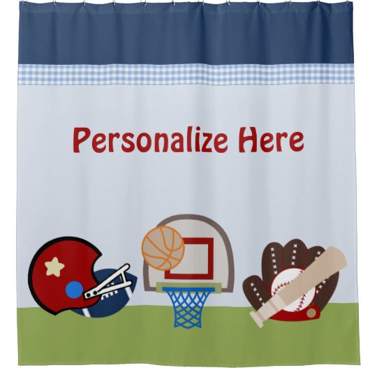 Varsity Sports Boy Kids Shower Curtain